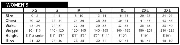 LBC Jersey Sizes Women
